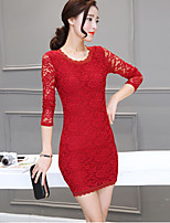 Women's Plus Size / Going out Sexy Bodycon Dress,Solid Round Neck Above Knee Long Sleeve Red / Black