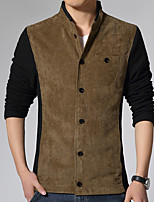 Men's Long Sleeve Casual / Work Jacket,Cotton / Polyester Solid Brown / Yellow HXTX-3358