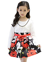 Girl's Casual/Daily Patchwork Dress,Rayon Winter / Spring / Fall Black / Red / White