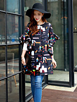 Women's Going out / Casual / Holiday Street chic / Punk & Gothic / Trench Coat,Print Round Neck½ Length