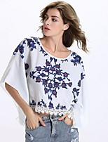 Women's Causal Loose Print Round Neck Lace Big Sleeve Blouse