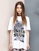 De las mujeres Simple Noche Verano Camiseta,Escote Redondo Estampado Animal Manga Corta Algodón Blanco Fino