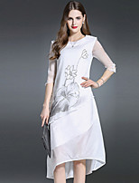 ES·DANNUO Women's Going out Sophisticated A Line Dress,Jacquard Round Neck Knee-length ¾ Sleeve White Silk Summer