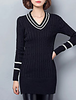 Women's Casual/Daily Street chic Long Pullover,Striped Pink / Black V Neck Long Sleeve Cotton Fall / Winter Medium