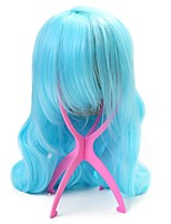 Neitsi 1pcs  Light Blue Wavy Synthetic Hair Wigs With 1pcs Durable Plastic Pink Wigs Stand