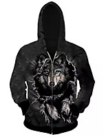 3D  Hoodie Long Sleeve Animal Wolf Printing Clothing