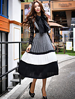 Women's Going out Vintage Swing Dress,Solid Strap Midi Sleeveless Gray Polyester / Spandex Fall-D16CRS036