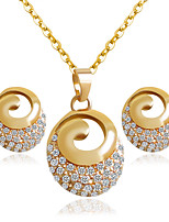Alloy Bridal Jewelry Sets Golden Necklaces Earrings Wedding/Party 1set