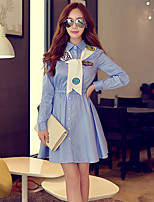 Women's Going out / Casual/Daily Simple / Cute A Line Dress,Solid Shirt Collar Above Knee Long Sleeve