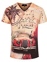 Herren T-shirt-Druck Freizeit / Sport / Übergröße Baumwolle Kurz-Gelb