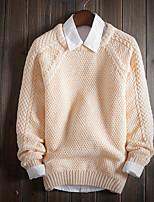 Herren Pullover-Einfarbig Freizeit Baumwolle / Polyester Lang Rot / Beige
