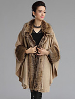 Women's Plus Size Vintage Long Cloak / Capes,Patchwork Beige / Black V Neck Long Sleeve Wool / Acrylic Winter Medium