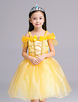 Girl's Formal Patchwork Dress,Polyester All Seasons Yellow