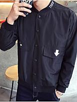 Men's Long Sleeve Plus Size Jacket,Polyester Solid Black / Blue