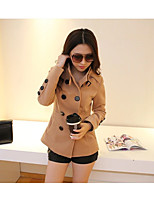Women's Going out Simple Trench Coat,Solid Round Neck Long Sleeve Spring / Fall Pink / Brown Polyester Medium