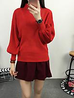 Damen Standard Pullover-Lässig/Alltäglich / Ausgehen Einfach / Street Schick Solide Rot / Schwarz / Mehrfarbig Ständer Langarm Wolle