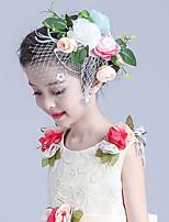 Bambina Tessuto / A rete Copricapo-Matrimonio / Occasioni speciali Fiori / Veli corti 1 pezzo Bianco Ovale 19