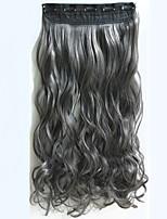 1pc 24inch 120g clip largo rizado ondulado de las extensiones de cabello oscuro Gary pelo sintético de la extensión Stock