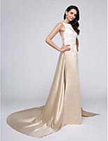 TS Couture® Formal Evening Dress A-line Bateau Chapel Train Satin with Appliques