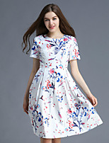 Boutique S Women's Casual/Daily Cute A Line Dress,Floral Round Neck Above Knee Short Sleeve White Polyester Summer