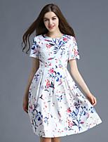 Damen A-Linie Kleid-Lässig/Alltäglich Niedlich Blumen Rundhalsausschnitt Übers Knie Kurzarm Weiß Polyester Sommer
