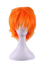 Anime Pelucas Pelo  Natural Wig Perruque Short Orange Synthetic Wigs Halloween Cosplay Pelucas Sinteticas