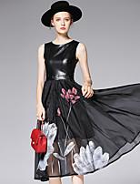 AFOLD® Women's Round Neck Sleeveless Tea-length Dress-6005