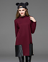 Dreamy Land asual/Daily Simple Shift Dress,Solid Crew Neck Above Knee Long Sleeve Red Cotton Fall