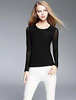 BOMOVO® Damen Rundhalsausschnitt Lange Ärmel T-Shirt Schwarz-B16QAB5