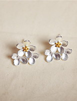 Earring Flower Stud Earrings Jewelry Women Fashion Daily Silver / Sterling Silver 1 pair Silver