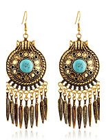 Fashion Women Antique Gold Bohemian Turquoise Leaves Drop Earrings Vintage Round Big Party Earrings