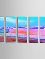 Ready To Hang Hand-painted Abstract Oil Painting Restaurant 5 Piece/Set Wall Art Decorate Seascape Stretched Frame