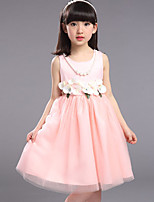 Girl's Casual/Daily Solid DressPolyester Summer Pink / Beige