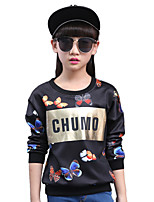 Girl's Cotton Spring/Autumn Fashion Cartoon Butterfly Print Long Sleeve Sweatshirt Blouse Casual/Daily Clothes