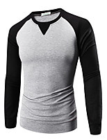 Men's Solid Casual T-Shirt,Cotton Long Sleeve-Black / Red / White / Yellow