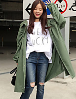 Women's Going out / Casual/Daily Vintage Trench Coat,Solid Hooded Long Sleeve Fall Green Cotton Medium