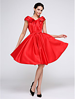 TS Couture® Cocktail Party Dress A-line V-neck Knee-length Satin with Bow(s) / Ruffles / Sash / Ribbon