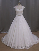A-line Wedding Dress Sweep / Brush Train Sweetheart Tulle with Appliques / Bow / Button / Sash / Ribbon