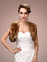 Women's Wrap Shrugs Sleeveless Faux Fur Brown Wedding / Party/Evening Wide collar 45cm Draped Open Front