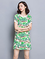 Women's Going out Sophisticated Loose Dress,Print Round Neck Above Knee Short Sleeve Green Rayon Summer