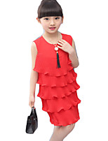 Girl's Casual/Daily Solid Dress,Others Summer Red