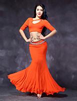 Belly Dance Outfits Women's Performance Modal Ruffles 2 Pieces Fuchsia / Green / Orange / Dark Blue Half Sleeve No Belt