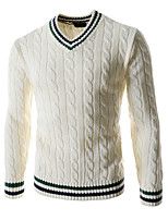 Herren Standard Pullover-Lässig/Alltäglich Einfach Einfarbig Blau Weiß Grün V-Ausschnitt Langarm Wolle Herbst Winter Mittel