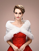 Women's Wrap Capelets Sleeveless Faux Fur White Wedding / Party/Evening V-neck 45cm Lace Clasp