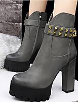Черный / Коричневый / Серый / Хаки-Женский-На каждый день-Полиуретан-На толстом каблуке-Модная обувь-Ботинки