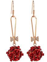 Серьга В форме цветка Серьги-слезки Бижутерия 1 пара Мода Повседневные Сплав Женский Золотой