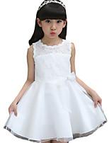 Menina de Vestido,Casual Cor Única Outros Verão Branco