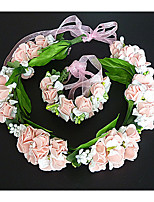 Women's Fabric Headpiece-Wedding Wreaths 2 Pieces Pink / White Flower 54cm