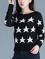 Women's Casual/Daily Street chic Short Pullover,Print Black / Yellow Boat Neck Long Sleeve Acrylic Fall Medium