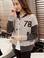 Women's Going out Cute Short Cardigan,Solid Gray Round Neck Long Sleeve Cotton / Polyester Spring / Fall Medium